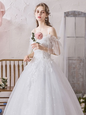 Ball Gown Wedding Dress Princess Silhouette Off The Shoulder Short Sleeves Natural Waist Floor Length Bridal Gowns_6