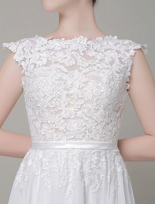 Robe de mariée en mousseline de soie Bateau Dentelle Satin Sash Longueur de plancher Une ligne Robe de mariée d'été_4