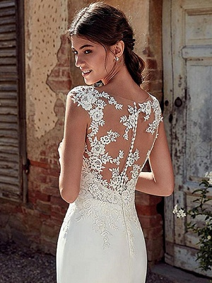 White Simple Wedding Dress White Chiffon Illusion Neckline Sleeveless Court Train Applique Sheath Bridal Gowns_4