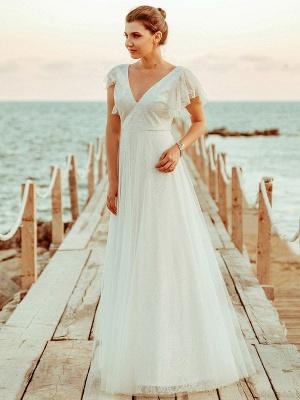 Simple Wedding Dress 2021 A Lne V Neck Short Sleeve Floor Length Tulle Beach Wedding Party Dresses Bridal Gowns_3