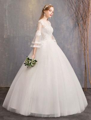 Ballkleid Brautkleider Tüll Juwel 3/4 Ärmel bodenlangen Prinzessin Brautkleid_5
