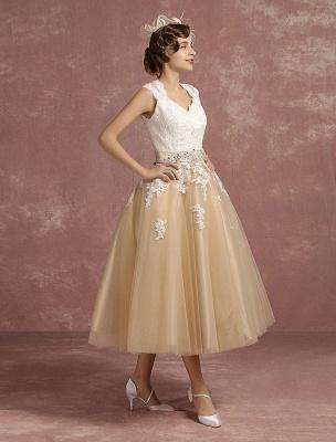 Vestido de novia de la vendimia Vestido de novia corto con apliques de encaje de champán Vestido de novia con cuello de la reina Ana Vestido de novia de la longitud del té_6