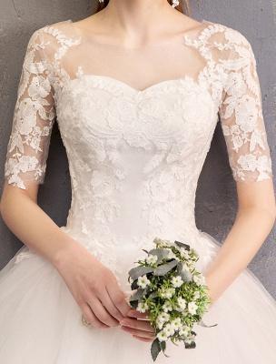 Vestidos de novia de encaje Marfil Escote de ilusión La mitad de manga Hasta el suelo Vestido de novia de princesa_8