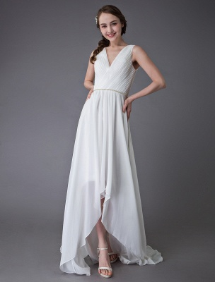 Beach Wedding Dresses Chiffon V Neck High Low Sash Summer Bridal Dress Exclusive_5