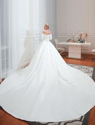 Vintage Brautkleid 2021 Satin 3/4 Ärmel schulterfrei bodenlangen Brautkleider mit Kapelle Zug_3