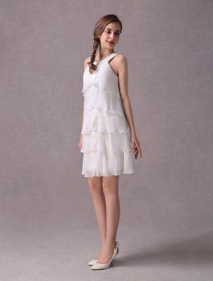 Einfache Brautkleider Elfenbein Chiffon Cocktailpartykleid Perlen Tiered A Line Halfter Kurzes Brautkleid Exklusiv_4