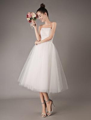 Vestidos de novia vintage Vestido de novia corto de tul sin tirantes hasta el té Exclusivo_1