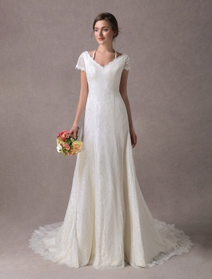 Lace Wedding Dresses Ivory V Neck Short Sleeve A Line Straps Bridal Gowns With Train Exclusive_2