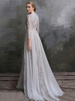 Brautkleid mit Zug A-Linie mit langen Ärmeln Chiffon Jewel Neck Elfenbein Brautkleider_2