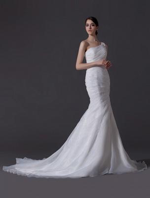 Ivory One-Shoulder Ruched Organza Mermaid Wedding Dress_3