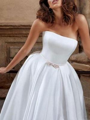 Vintage Brautkleid trägerlos ärmellos natürliche Taille Satin Stoff bodenlangen Bögen traditionelle Kleider für die Braut_3