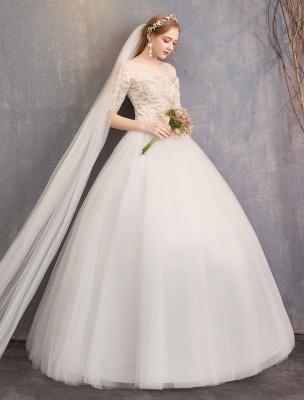 Tulle Wedding Dress Off The Shoulder Half Sleeve Princess Bridal Gown_6