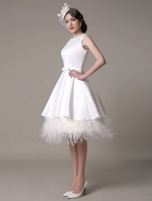A-Line Wedding Dress Knee-Length Feather Tiered Satin Bow Bridal Dress Exclusive_5