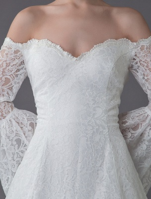 Princess Wedding Dresses Lace Off The Shoulder Long Sleeve A Line Floor Length Bridal Gown Exclusive_8