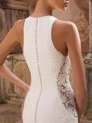Simple Wedding Dress Lycra Spandex Jewel Neck Sleeveless Lace Mermaid Bridal Dresses_4