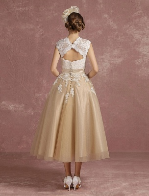 Vestido de novia de la vendimia Vestido de novia corto con apliques de encaje de champán Vestido de novia con cuello de la reina Ana Vestido de novia de la longitud del té_8
