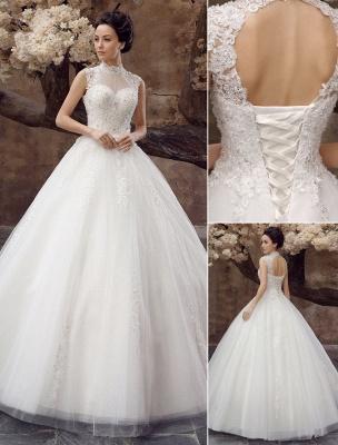 Wedding-Dresses-Ball-Gown-Bridal-Dress-Lace-Applique-Open-Back-High-Collar-Sequins-Rhinestones-Floor-Length-Bridal-Dress_1