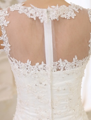 Elfenbeinfarbenes Duchesse-Linienkleid mit Juwelen-Ausschnitt und Pailletten Kapelle-Schleppe-Brautkleid exklusiv für die Braut_7