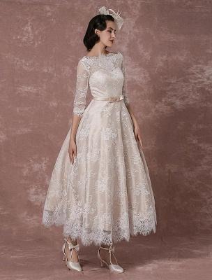Lace Wedding Dress Vintage Bateau Champagne Half Sleeves Bridal Gown A Line Backless Tea Length Sash Reception Bridal Dress Exclusive_4