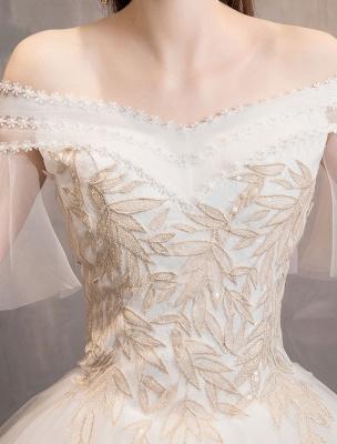 Prinzessin Brautkleid Elfenbein schulterfreies bodenlanges Brautkleid_7