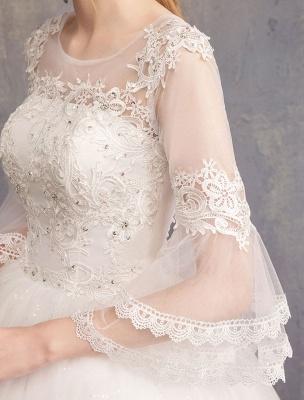 Ballkleid Brautkleider Tüll Juwel 3/4 Ärmel bodenlangen Prinzessin Brautkleid_10