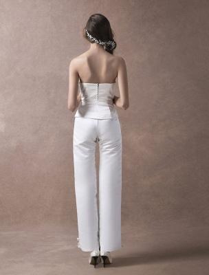 Wedding Jumpsuits Ivory Strapless Peplum Satin Bow Sash Long Bridal Jumpsuits Exclusive_8