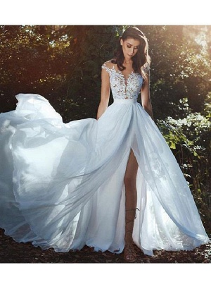 Wedding Dresses With Court Train A-Line Sleeveless Applique Illusion Neckline Bridal Gowns_3