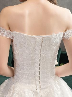 Spitze Brautkleider Elfenbein Spitze Applique Schulterfrei Kurzarm Prinzessin Brautkleid mit Zug_8