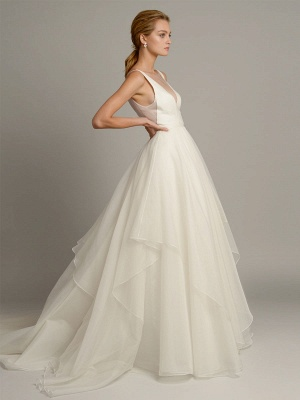 White A-Line Wedding Dresses With Train Sleeveless Backless Natural Waist Tiered V-Neck Long Bridal Dresses_2