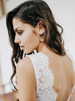 Simple Wedding Dress Tulle A Line V Neck Sleeveless Lace Floor Length Bridal Dresses_6