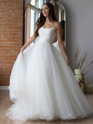 White Wedding Dress Designed Neckline Sleeveless Backless Zipper Tiered With Train Tulle Long Bridal Gowns_1