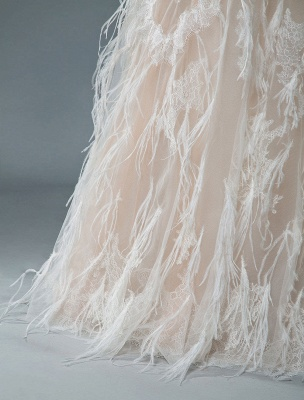 Simple Wedding Dress Lace A Line V Neck Sleeveless Beaded Floor Length Feather Bridal Gowns_8