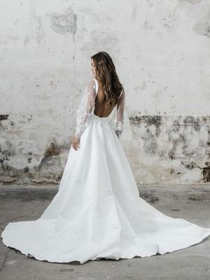 White Simple Wedding Dress A-Line Square Neck Long Sleeves Backless Applique Cut-Outs Split Front Long Bridal Dresses_2