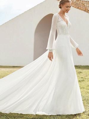 Elfenbein Einfaches Brautkleid mit Zug A-Linie V-Ausschnitt mit langen Ärmeln Spitze Brautkleider_2