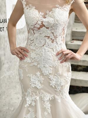 Wedding Dress Jewel Neck Sleeveless Natural Waist Lace Bridal Mermaid Dress With Train_4