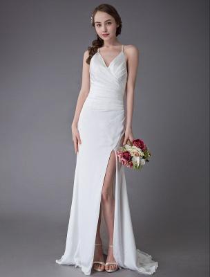 Beach Wedding Dresses Sexy Bridal Dress High Split Ivory Sheath Straps Summer Wedding Gowns Exclusive_3