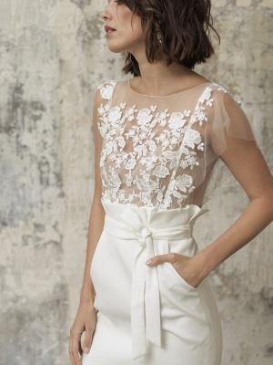 Weiße Kurze Brautkleider Illusionsausschnitt Jewel Neck Kurze Ärmel Mantel Natürliche Taille Spitze Schleifen Cut-Outs Rüschen Brautkleider_2