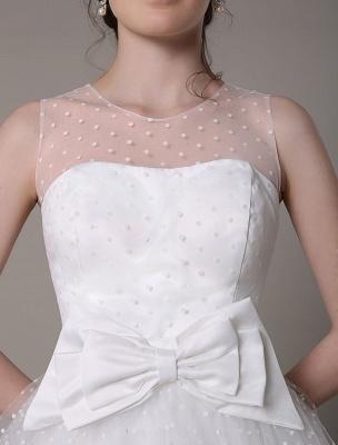 Vestido de novia de tul Sin tirantes Una línea Hasta el té Vestido de novia con lazo Exclusivo_8