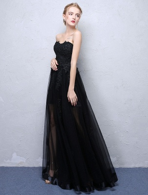 Black Prom Dresses Strapless Long Party Dress Lace Applique Sweetheart Illusion Formal Evening Dress_3