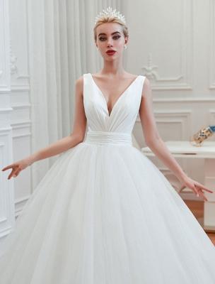 Princess Wedding Dress 2021 Ball Gown V Neck Sleeveless Natural Waist Court Train Bridal Gowns_3