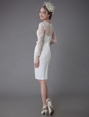 Vintage Brautkleider Jewel Langarm Etui Kurzes Brautkleid Exklusiv_8