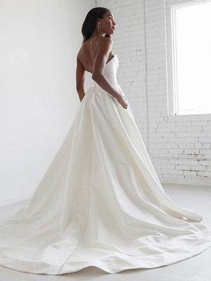 Weiße A-Linie Brautkleider mit Schleppe ärmellose Taschen Trägerlose rückenfreie Satin Brautkleider Satin_2