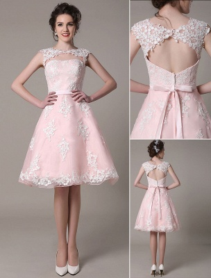 Lace Wedding Dress Cut Out Knee Length A-Line Bridal Dress With Satin Bow Exclusive_1