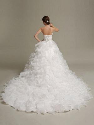 Brautkleider Prinzessin Ballkleider Trägerlos Schatz-Ausschnitt Plissee Rüschen Perlen Schärpe Tüll Elfenbein Brautkleid mit Zug_4