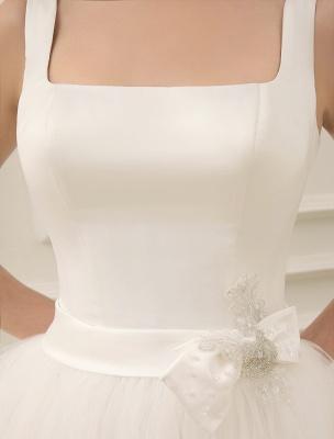 Simple Wedding Dresses Satin Square Neck Applique Short Bridal Dress With Beading Bow Sash Exclusive_7