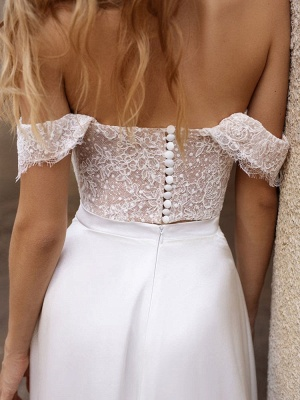 White Simple Wedding Dress Satin Fabric Strapless Sleeveless Cut Out A-Line Off The Shoulder Long Bridal Dresses_8