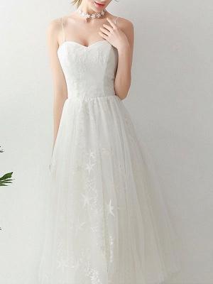 Short Wedding Dress2021 A Line Sweetheart Neck Sleeveless Tea Length Natural Waist Tulle Bridal Dresses_5