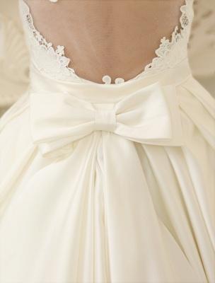 Elfenbeinfarbenes Ballkleid Jewel Neck Bow Bodenlanges Satin Brautkleid Exklusiv_10