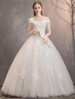 Elfenbein Brautkleider Tüll Schulterfrei Spitze Applique Bodenlangen Prinzessin Brautkleid_3
