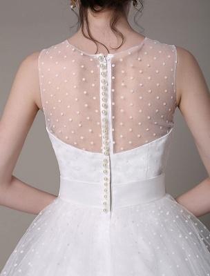 Vestido de novia de tul Sin tirantes Una línea Hasta el té Vestido de novia con lazo Exclusivo_7